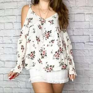 American Eagle floral cold shoulder top
